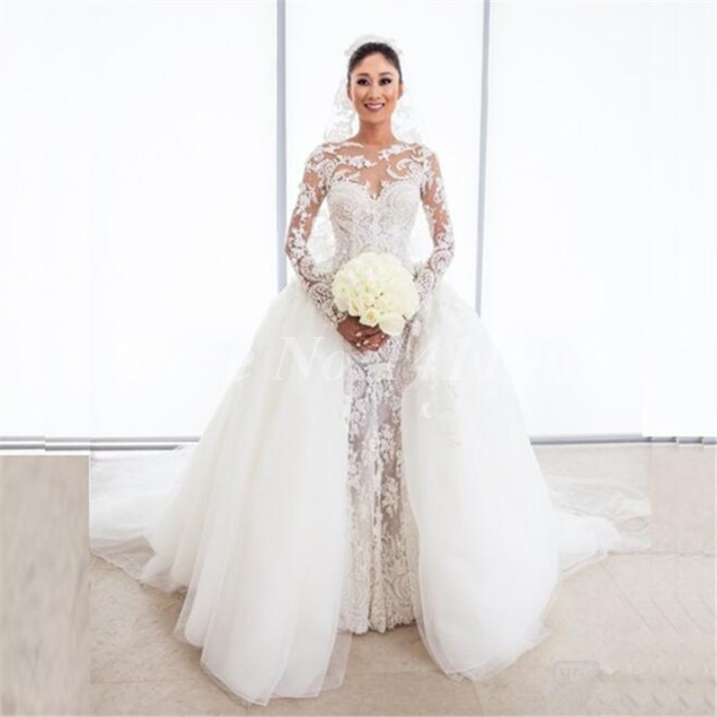 Sexy detachable train mermaid wedding dresses 2016 long for Lace wedding dress with long train