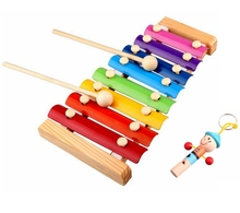 Melody Xylophone and Whistle Baby's Early Education Wooden Musical Instrument Toys Trailer 8 Scales , 24*13cm(China (Mainland))