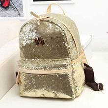New 2015 Cute Casual Women Colorful Canvas Backpacks Girl Student School Travel bags Mochila Women Big Bag paillette bling bag(China (Mainland))
