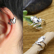 New Chic Fashion 1PCS Punk Gold Silver Tone Frog Cuff Ear Clip Wrap Earring Jewelry 2 Colors Drop Shipping JR-00082(China (Mainland))