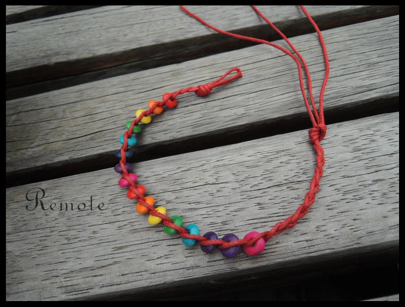 Здесь можно купить  Blood Red wax cord with rainbow wooden beaded braided bracelet, cheap kids bracelet  A049  Ювелирные изделия и часы
