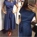 2016 Hot Sale Casual A Line Dot Women Popular Dress Short Sleeve O Neck Knee Length