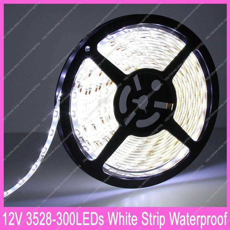 DC12V 5M/Roll 60led/m 300LED 3528SMD Epoxy Resin IP65 Waterproof Flexible LED Strip Light Cool White Color 6000-6500K(China (Mainland))