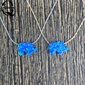 Hot Selling Elephant Opal Pendant Necklace O Chain Synthetic Opal Elephant Necklace