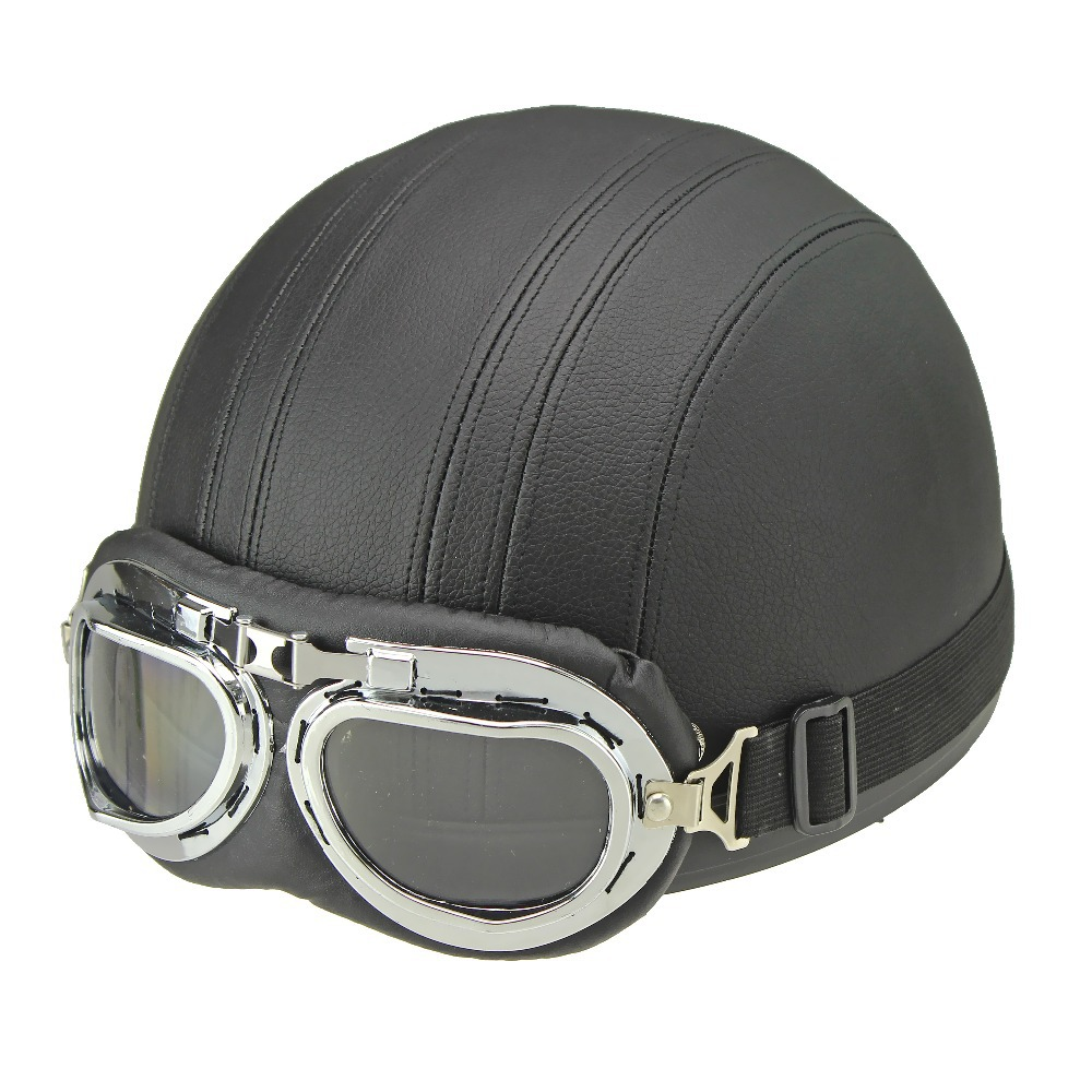 6 Colors Fashin Cool Scooter Half Vintage Style Motorcycle Open Face Solid Helmet & Goggles(China (Mainland))