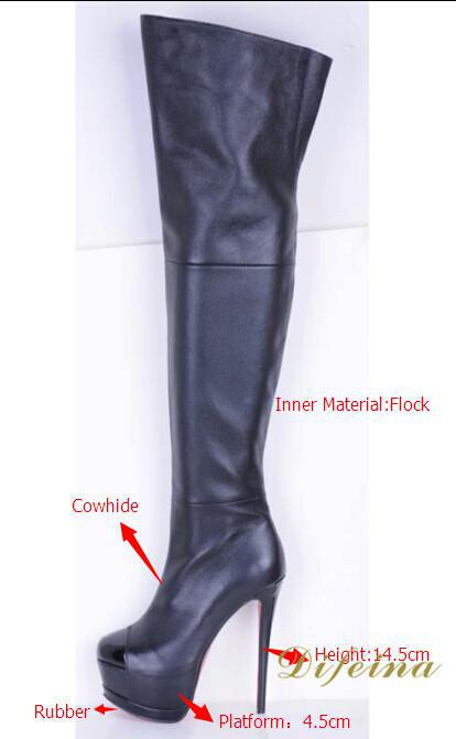 Black Zipper Cowhide Women Long Boots Stiletto Heel Pointed Toes Over The Knee Boots Women Platform Stretch Flock Boots Heels