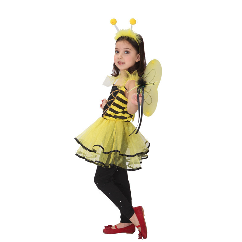 Girls Honey Bee Dress Insect Cosplay Wings