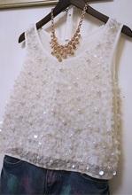 YZV020 Europe Retro Womens heavy Beaded sequined sleeveless vest/pearl vest/women beading vest/camisole/suspenders/Underwear(China (Mainland))