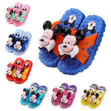 Kids Summer Sandals 2016 Boys Girls Beach shoes flat heel cartoon Micky bath Slippers infantil Hollow casual Sandal for children(China (Mainland))