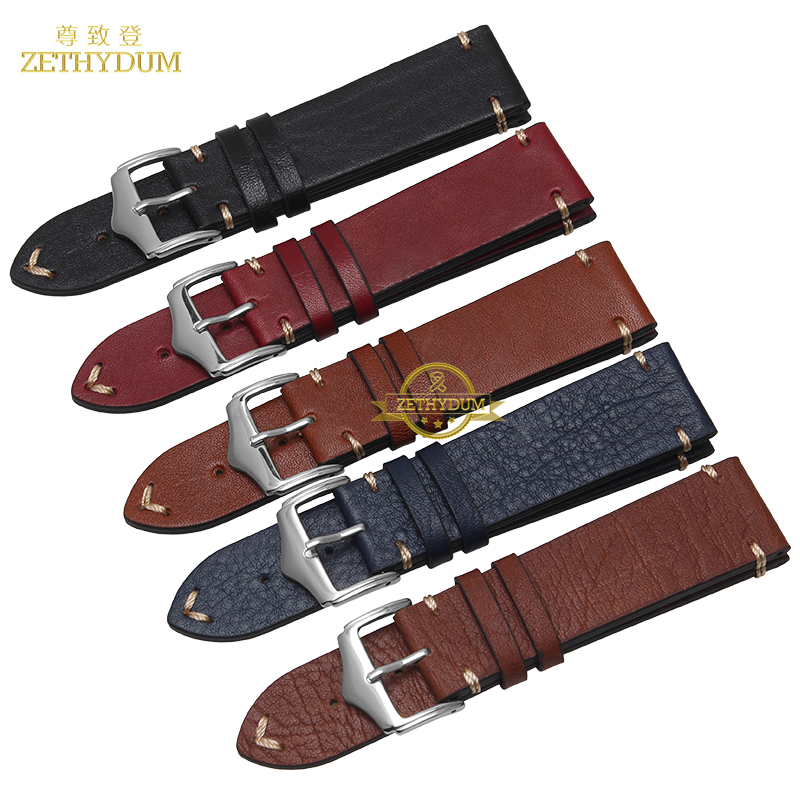Retro Frosted Genuine leather watch strap bracelet handmade watchband 20mm 22mm watch band with Thread wristwatches wholesale(China (Mainland))