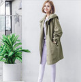 2016 autumn winter new simple solid color waist loose hooded windbreaker jacket women casual fashion wild