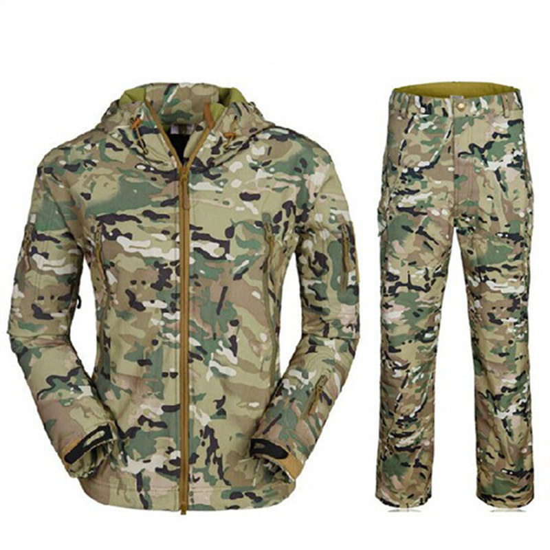 Value portfolio TAD male shark skin soft shell jacket suit genuine / tourist warm wind pants army uniform