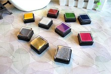 48 pcs/lot  12 colors available Lovely Plastic Ink*Pad Ink*pad Sta*mp Pad Set Handmade Scrapbooking Funny Work Free shipping 410(China (Mainland))