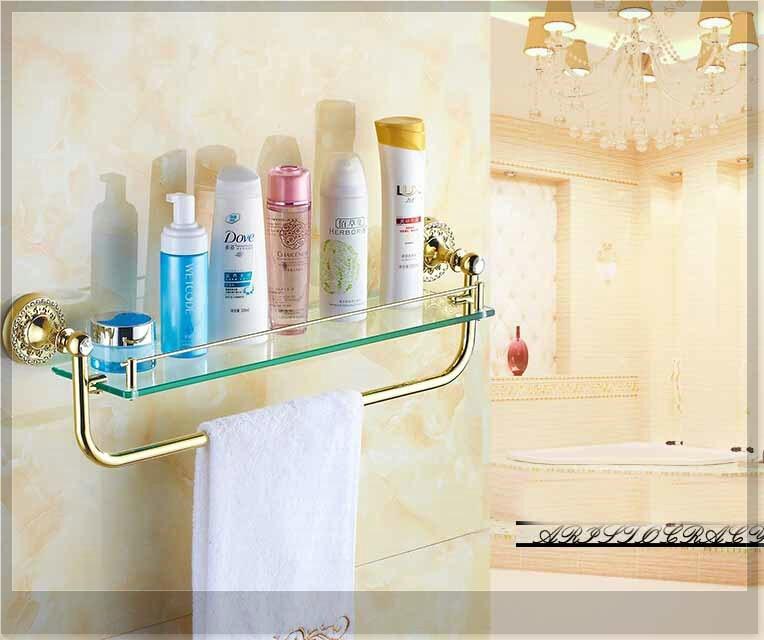 Diamond Deco Wall Mounted Bathroom Shelf Glass Tier Storage Holder W/ Towel Bar emergi(China (Mainland))