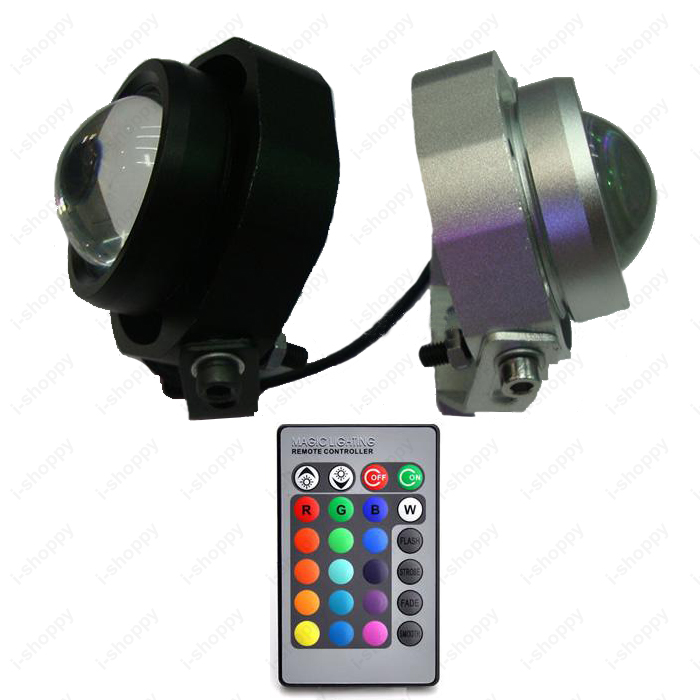 10W LED RGB Color Changing Exterior Patio Landscape Rockery Light Headlight Motorcycle Spot Lamp DC 12V Remote Control(China (Mainland))