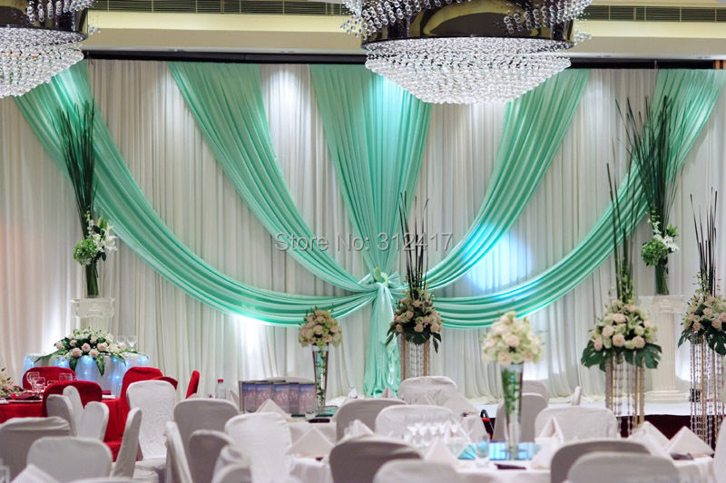 wholesale and retail 10x20 white and aqua wedding stage backdrop decorations ,backdrop curtains, backdrop wedding(China (Mainland))