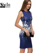 SheIn Summer Womens Elegant Sheath Dresses Fashion Ladies Multicolor Round Neck Sleeveless Floral Bodycon Dress(China (Mainland))