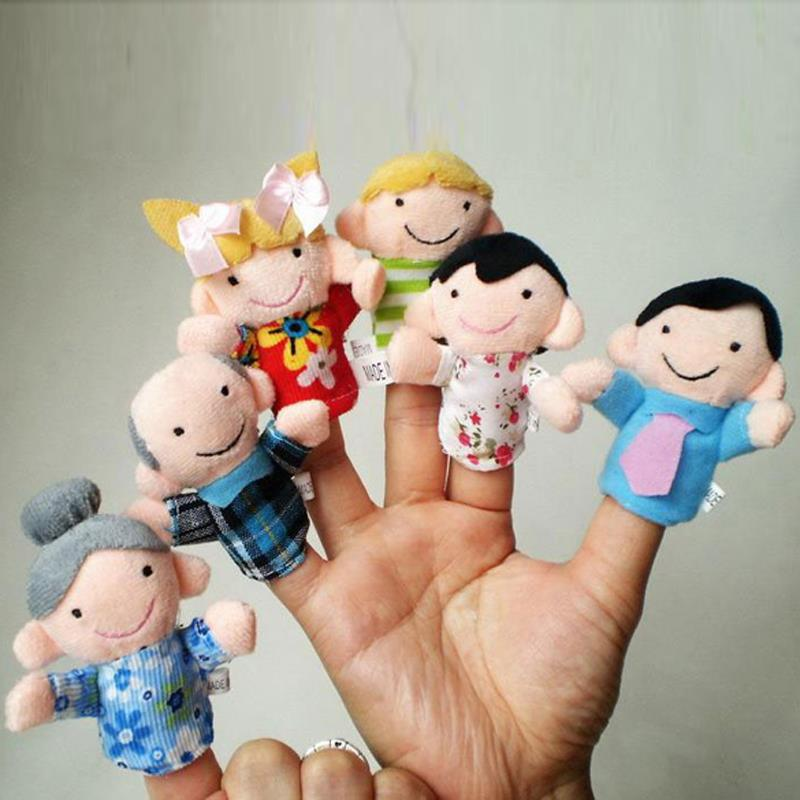 6Pcs Family Finger Puppets Cloth Doll Baby Educational Hand Toy Story Kid(China (Mainland))