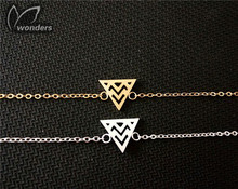 Classic Gold Silver Weave Pyramid Origami Triangle Charm Bracelet Chain Bangle For Women And Men Everyday Wear Steel Accessories