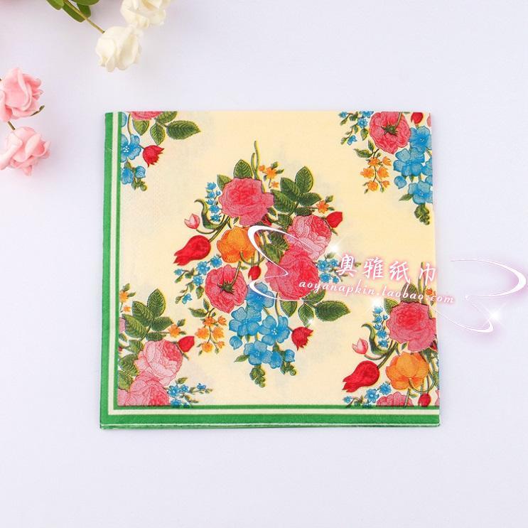 JJ250,Food-grade Flower Paper Napkin Rose Festive & Party Tissue Napkins Decoupage wedding Decoration Paper 33cm*33cm 1pack/lot(China (Mainland))