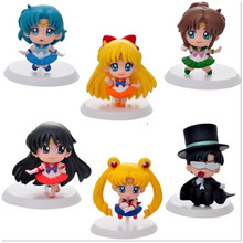 6pcs/set Kawaii Sailor Moon Minifigures Toy Dolls 5cm Height Kids PVC Anime Action Figure Juguetes for Kids Toys