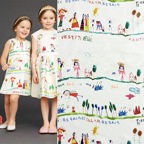 1meter polyester digital printed jacquard fabric, kids or women brand show jacquard dress fabric, sewing clothing material(China (Mainland))