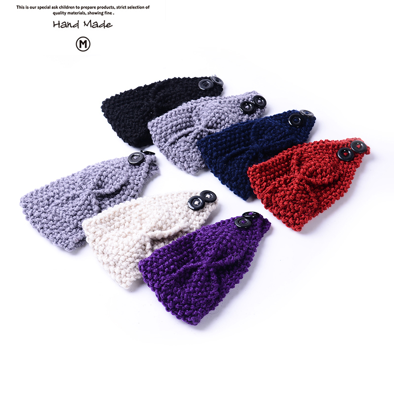 2016 Beauty Fashion Hand Made Bowknot styleFlower Crochet Knit Knitted Headwrap Headband Ear Warmer Hair Muffs Band Winter(China (Mainland))