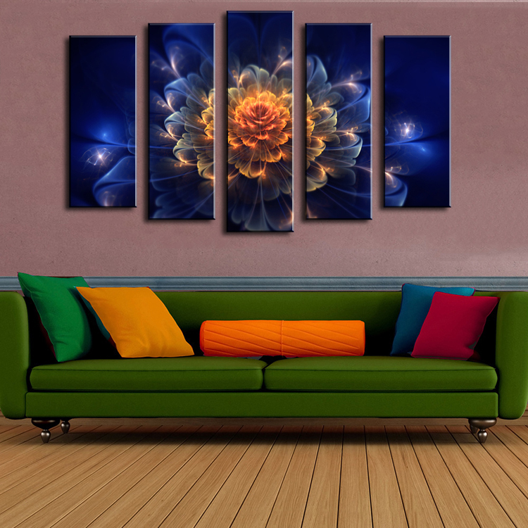 5 piece wall paintings home decorative modern abstract for Modern abstract paintings for sale