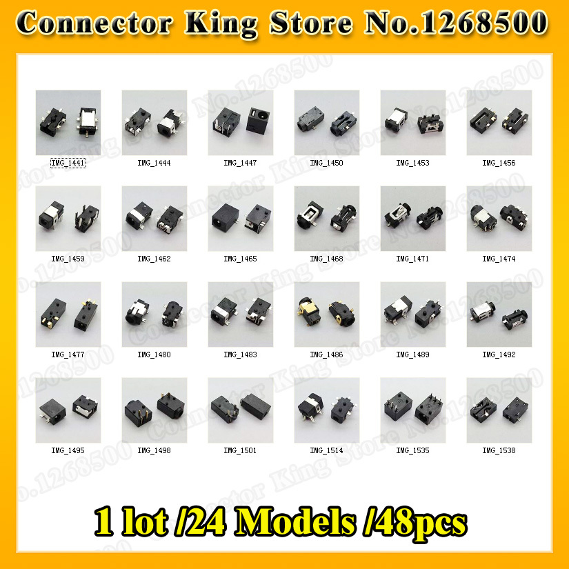 1 lot /24 Models /48pcs Widely Using Power DC Jack Connector, Socket for Laptop Tablet, Mini Pad(China (Mainland))
