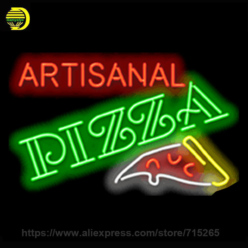 Neon Sign Artisanal Pizza Neon Light Sign Bakery cool neon signs Arcade handcrafted Real Glass Tube Publicidad Neon Lights 30x18(China (Mainland))