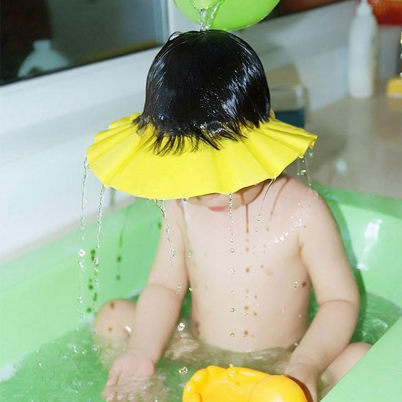 Baby Kids Children Hats Shampoo Shower Cap Bath Bathing Protection Soft Caps Hat Wash Hair Shield Adjustable 3 Colors(China (Mainland))