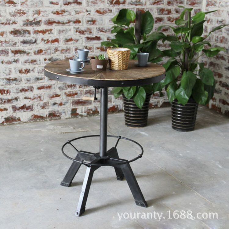 Round Coffee Table Natural Wood: Excellent Natural Wood Home Vintage American Iron Bar