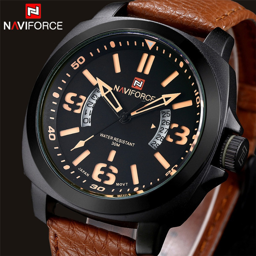 NAVIFORCE Luxury Top Brand Fashion Men Military Sports Watches Men's Quartz Auto Date Clock Man Leather Strap Casual Wrist Watch(China (Mainland))