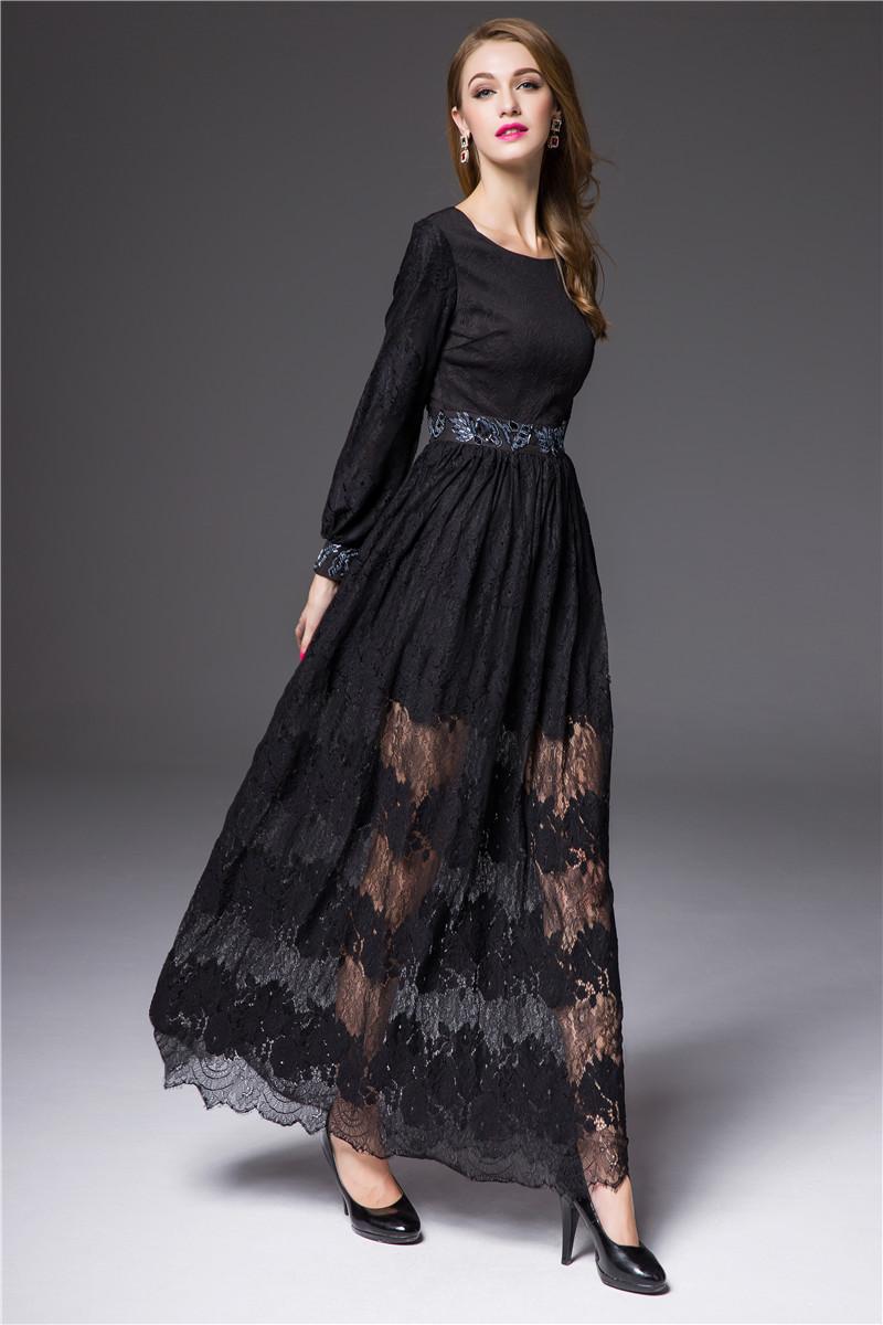 Turmec » long sleeve black lace dress maxi