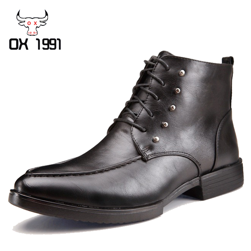 Fashion Men black Ankle Boots,Winter Waterproof Men Leather Boots,OX 1991 Brand Solid Leather Winter Men Boots(China (Mainland))