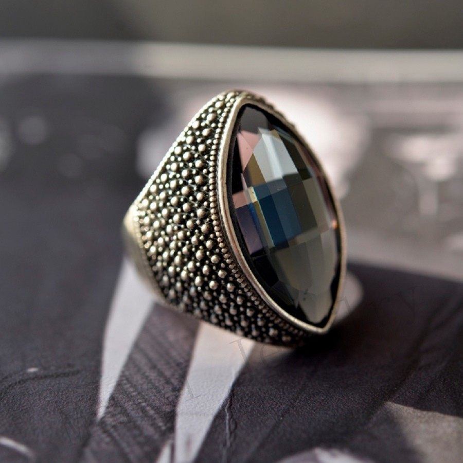 10357002 Fashion New Arrival Hot Sale Vintage Style Black Stone Ring For Women/Men