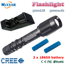 ZK30 V5 CREE XM-L T6 LED Flashlight  torch 5000LM 5-Mode Torch light suitable two 5000mAh batteries Telescopic Zoom lamp lantern(China (Mainland))
