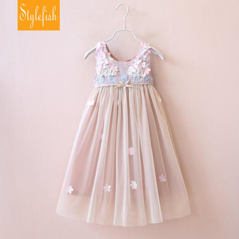 Stylefish2016 New Girls Dress Summer Clothing Children Fashion Lace Princess Dress Kids Party v-Neck Dresses(China (Mainland))