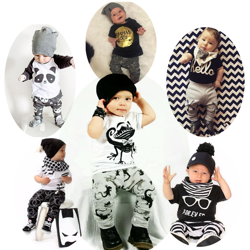 2016 New summer baby boy clothes cotton Fashion letters printed T-shirt+pants 2pcs baby boys clothing set infant 2pcs suit(China (Mainland))