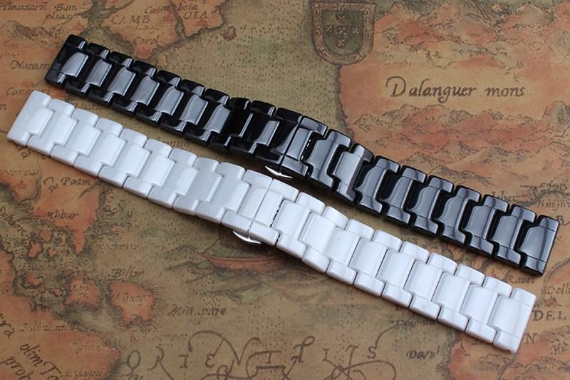 Hot Sale Ceramic 14mm16mm 18mm 19mm 20mm 22mm Black White Watchband Men Women Bracelet For AR CK General Watch Strap