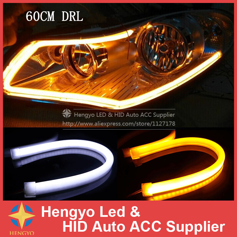 New 2PCS 60CM DRL Flexible LED Tube Strip Daytime Running Lights Turn Signal Angel Eyes Car Styling Parking Lamps(China (Mainland))