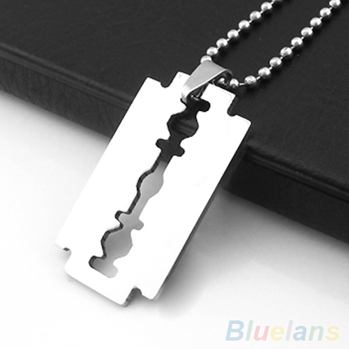 Men's Stainless Steel Razor Blade Pendant Silver Color Ball Chain Necklace 2PLG(China (Mainland))