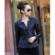 2015 autumn and witner leather blazers black women blazer 5XL women's clothing jackets and coats ladies blazer suit(China (Mainland))