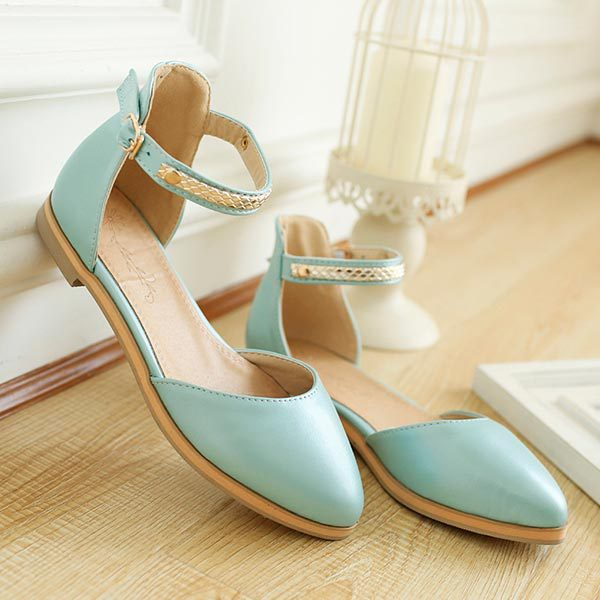 2015 summer new fashion solid color flat shoes buckle pointed casual sandals comfortable flat shoes D511<br><br>Aliexpress