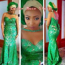 Robe De Soiree Nigerian Style Evening Dresses With Beaded Front Split Plus Size African Lace Green Women Formal Gowns 2016 New