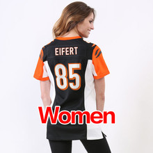 cheap Women's 18 A.J. Green #85 Tyler Eifert #14 Andy Dalton Ladies Light black white orange Game Stitched Logos Free shipping(China (Mainland))