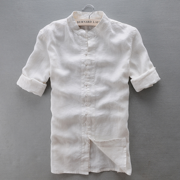 Free shipping white linen shirts men chinese style stand for White linen dress shirt
