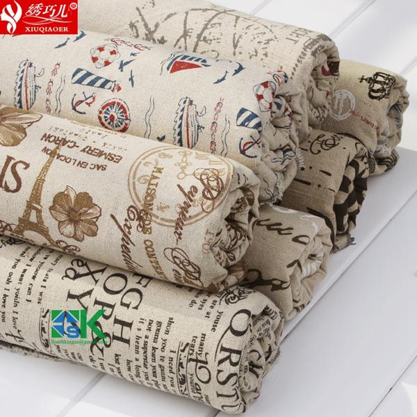 Quality Clothing Fluid canvas print linen fabric rustic handmade diy table cloth curtain fabric(China (Mainland))