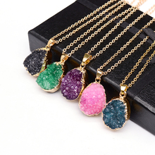 SEDmart Druzy Quartz Natural Stone Irregular Geode Amethyst 18K Gold Plated Raw Stone Pendant Necklace For Women Quartz Necklace(China (Mainland))