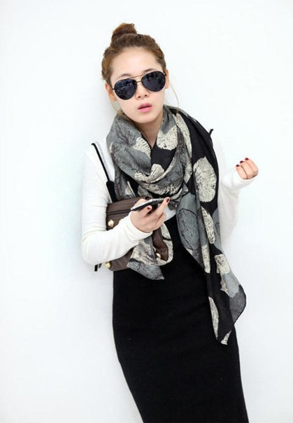 1PC 100 180cm New Fashion Winter Hot sale big Flower Peddles Printed Woman Cotton scarf WJ